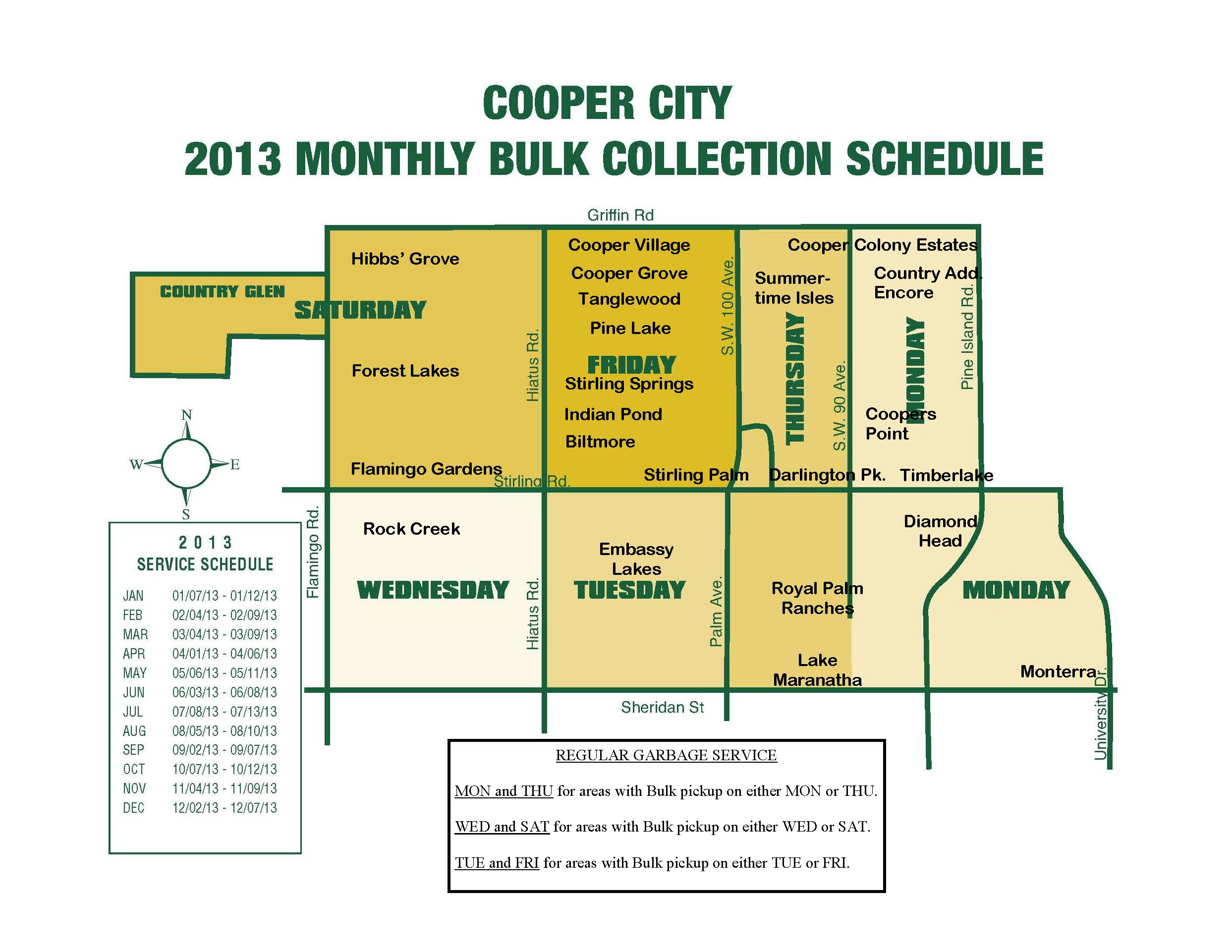Cooper City Monthly Bulk Pickup Rules and Contact information